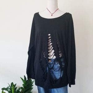 Trouve Nordstrom Distressed Black Sweater Medium